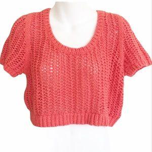 Free People Orange knit cropped sweater top